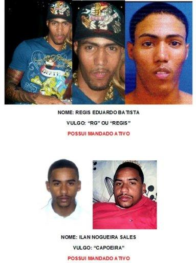 Handout picture released by Rio de Janeiro's Militarized Police showing pictures of two of the four suspects who attacked the Nova Brasilia Peace Police Unit (UPP) at the Alemao shantytown complex on July 23. During the attack police officer Fabiana Aparecida de Souza, 30 was shot dead