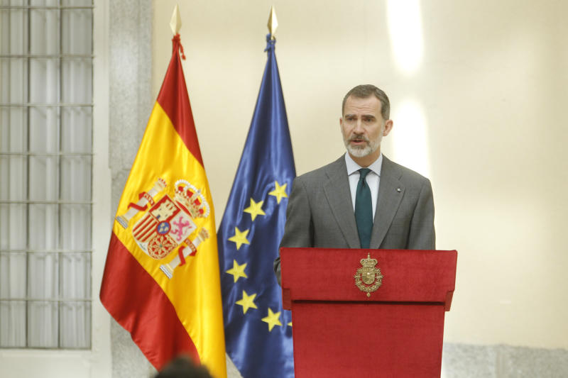 MADRID, SPAIN - February 21: King Felipe VI of Spain and Queen Letizia of Spain attend the National Research Awards 2018. February 21, 2019. Credit: Jimmy Olsen/Media Punch ***NO SPAIN*** /IPX