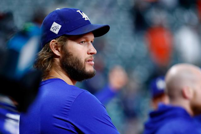 Clayton Kershaw with an eye on the field before Game 4 of the World Series in Houston. (Getty Images)
