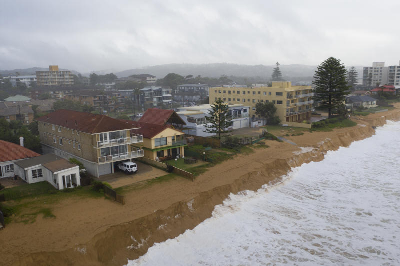 Heavy beach erosion is seen at Collaroy on Monday. Source: Getty/Brook Mitchell
