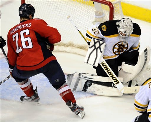 Boston Bruins goalie Tim Thomas (30) defends the net against Washington Capitals left wing Matt Hendricks (26) during the second period of Game 6 of an NHL hockey Stanley Cup first-round playoff series, Sunday, April 22, 2012, in Washington. (AP Photo/Nick Wass)