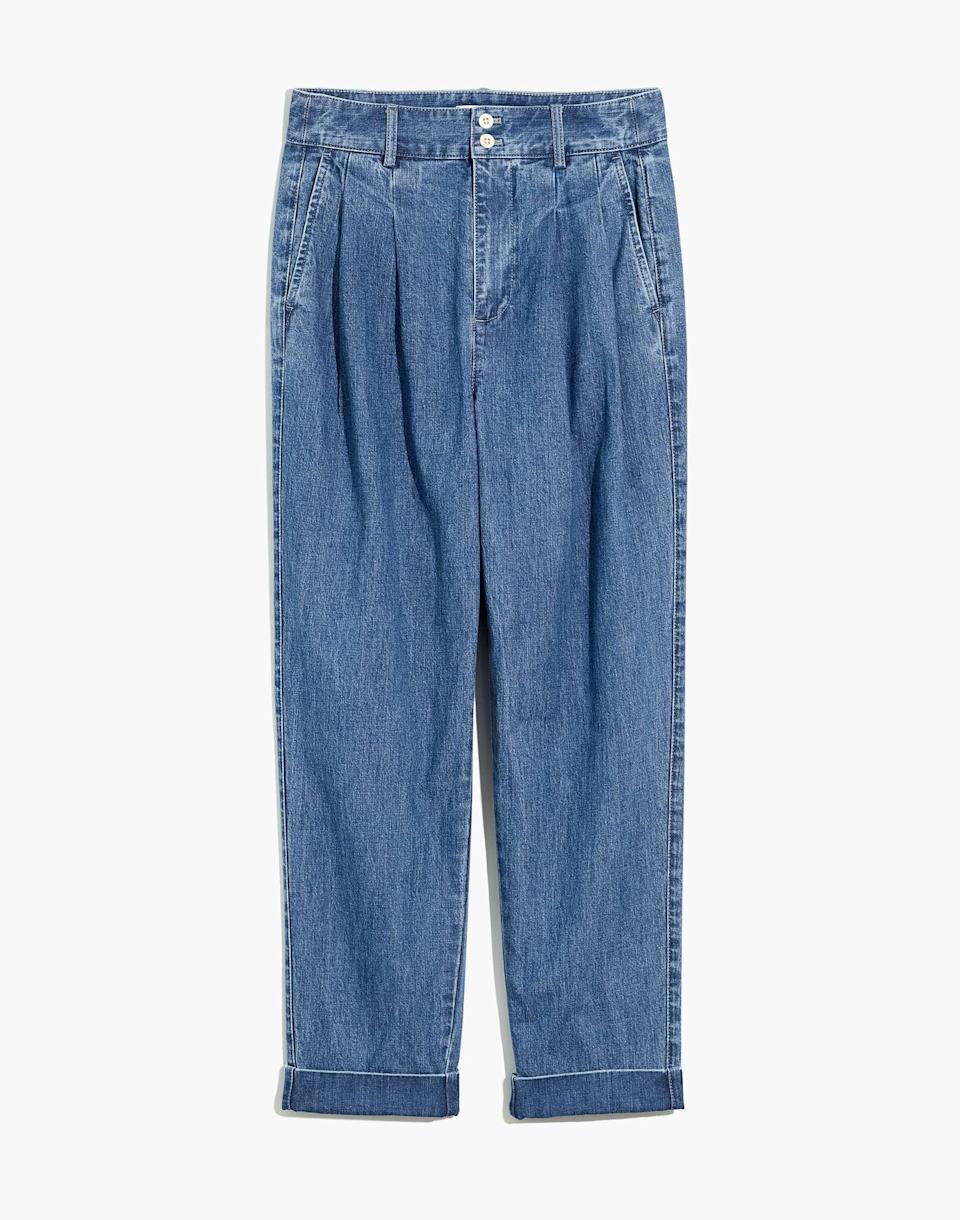 <p>The front pleats of these <span>Madewell Pleated Taper Wide-Leg Jeans</span> ($110) add the perfect dress up element for zoom calls or outdoor activities. I enjoy the stretchy, soft fabric of these pants. </p>