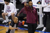 Florida State head coach Leonard Hamilton directs his team during the first half of an NCAA college basketball game against North Carolina in the semifinal round of the Atlantic Coast Conference tournament in Greensboro, N.C., Friday, March 12, 2021. (AP Photo/Gerry Broome)