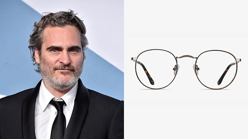 Joaquin Phoenix Daydream Round Brown Golden Eyeglasses. (Photo: Getty Images, EyeBuyDirect)