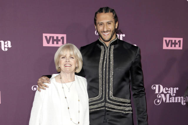 Colin Kaepernick and his mother attend VH1's third annual 'Dear Mama: A Love Letter To Moms' screening at The Theatre at Ace Hotel on May 3, 2018 in Los Angeles, California. (Getty)