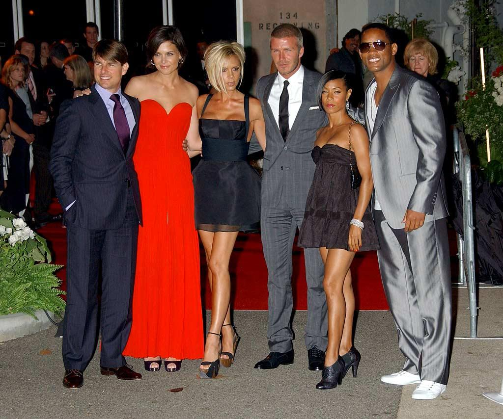 """Hollywood power couples Tom and Katie, Posh and Becks, and Jada and Will line up for a photo-op. Gregg DeGuire/<a href=""""http://www.wireimage.com"""" target=""""new"""">WireImage.com</a> - July 22, 2007"""