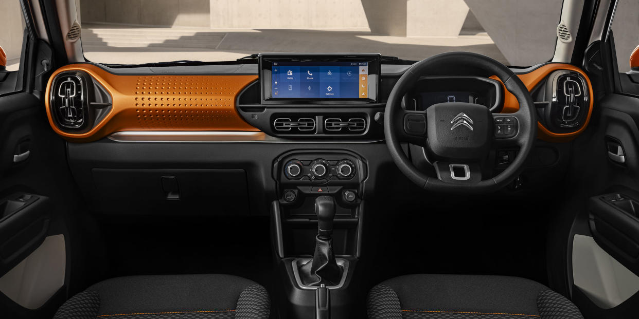 A large 10-inch touchscreen gives the C3's interior a modern feel