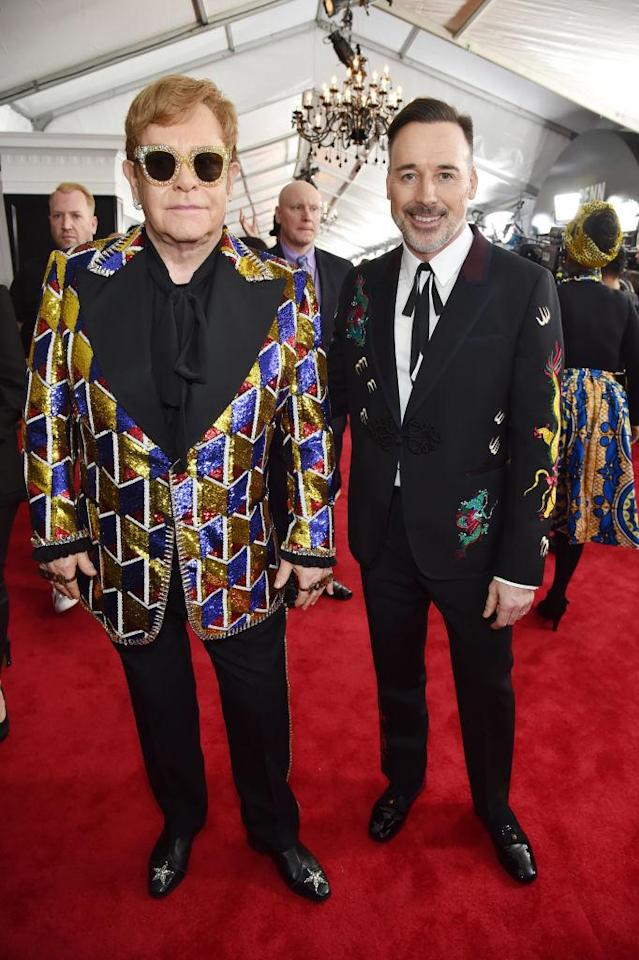 <p>Elton John and David Furnish attend the 60th Annual Grammy Awards at Madison Square Garden in New York on Jan. 28, 2018. (Photo: John Shearer/Getty Images) </p>