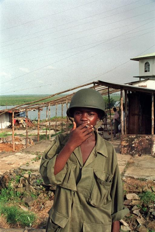 A child soldier of the ULIMO. Kosiah commanded the rebel group and one of the charges against him is recruiting children as fighters