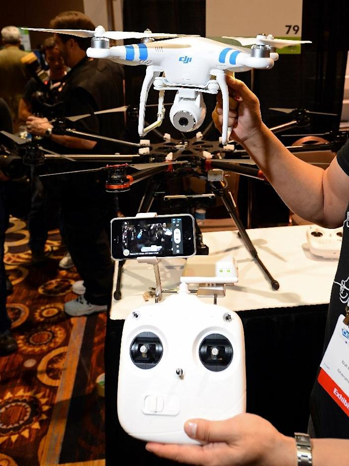 Drones are expected to make a splash at the 2016 Consumer Electronics Show in Las Vegas, where an Unmanned Systems Marketplace has doubled in size from a year earlier to cover 25,000 square feet (AFP Photo/Ethan Miller)