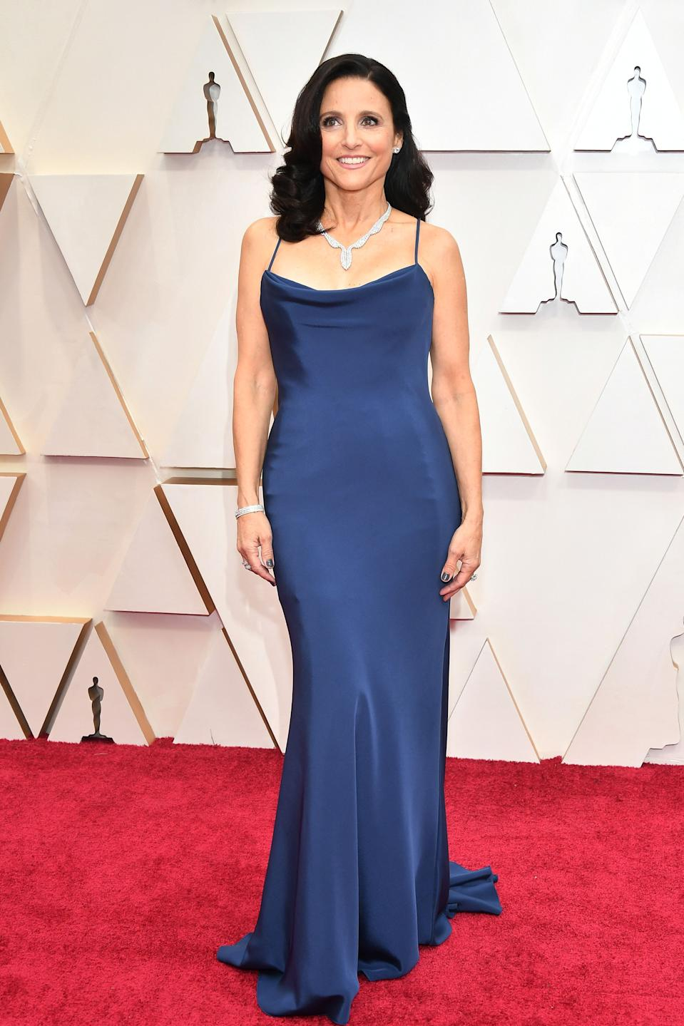 """The """"Downhill"""" star arrived on the red carpet in an elegant navy blue silk gown by Vera Wang."""