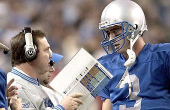 Marty Mornhinweg, talking to Joey Harrington, lasted just two seasons while going 5-27 with Detroit
