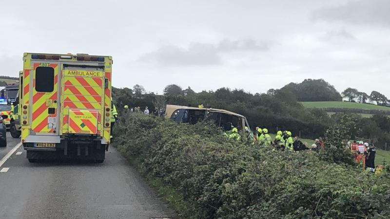 Multiple passengers injured in Devon bus crash