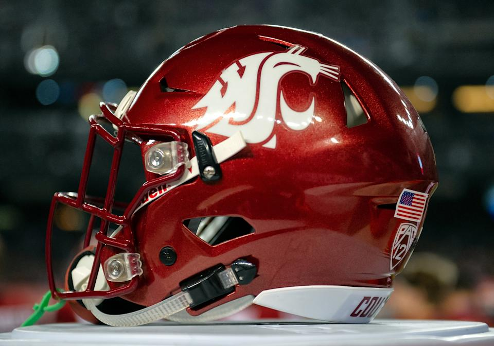 PHOENIX, AZ - DECEMBER 27: A Washington State Cougars helmet is shown during the Cheez-It Bowl college football game between the Air Force Falcons and the Washington State Cougars on December 27, 2019 at Chase Field in Phoenix, AZ. (Photo by Carlos Herrera/Icon Sportswire via Getty Images)