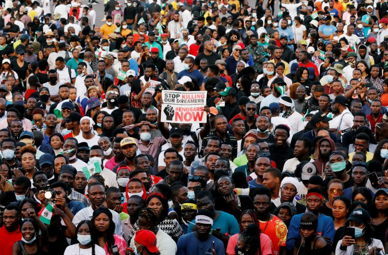 FILE PHOTO: Demonstrators gather during a protest over alleged police brutality in Lagos