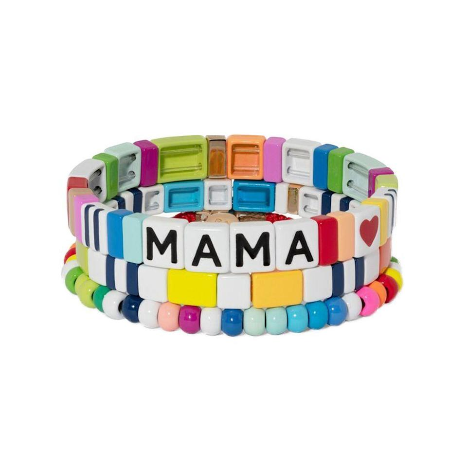 """<p><strong>Roxanne Assoulin</strong></p><p>roxanneassoulin.com</p><p><strong>$75.00</strong></p><p><a href=""""https://roxanneassoulin.com/collections/mothers-day/products/mama-bracelet-trio"""" rel=""""nofollow noopener"""" target=""""_blank"""" data-ylk=""""slk:Shop Now"""" class=""""link rapid-noclick-resp"""">Shop Now</a></p><p>Roxanne makes really fun stackable tile and beaded bracelets that kids love as much as moms do. They're great in the mix with fine jewelry or alone.</p>"""