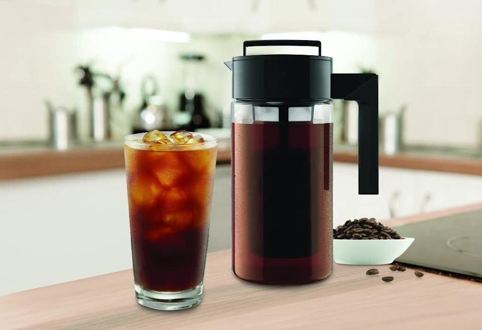 """This is so quick and easy to use that your blood might just become 90% caffeine soon. All you have to do is add coffee to the airtight brewer, add your water to the coffee maker and pop it in the fridge overnight. BOOM, caffeine city.<br /><br /><strong>Promising review:</strong>""""I have been drinking caffeinated beverages every day for half my life. Usually brewing hot then cooling it down with ice which was quite a process to do every morning. Then I came across this cold brew pitcher and thought I'd give it a try.<strong>It's great, easy to use and clean, very convenient, lasts for a couple of weeks, I love it!</strong>Making a pitcher of coffee takes less time than a normal brewer and makes enough for at least one cup a day for about a week, depending on how much coffee concentrate is used.<strong>I haven't used my normal coffee or espresso machine since I got this cold brew system.</strong>The coffee seems to taste better as well, not a huge difference but it's somewhat noticeable."""" —<a href=""""https://www.amazon.com/gp/customer-reviews/R2VUXEP55R2NYR?ASIN=B00FFLY64U&ie=UTF8&linkCode=ll2&tag=huffpost-bfsyndication-20&linkId=32bd0a74be23ae52d6dec8e431000be0&language=en_US&ref_=as_li_ss_tl"""" target=""""_blank"""" rel=""""noopener noreferrer"""">Birnbaum</a><br /><br /><strong>Get it from Amazon for<a href=""""https://www.amazon.com/Takeya-10310-Patented-Airtight-Silicone/dp/B00FFLY64U?&linkCode=ll1&tag=huffpost-bfsyndication-20&linkId=9ba00ce33f95022a317c7321acaa330e&language=en_US&ref_=as_li_ss_tl"""" target=""""_blank"""" rel=""""noopener noreferrer"""">$19.99</a>(available in two sizes and three colors).</strong>"""