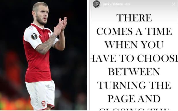 """Jack Wilshere has hinted he could leave Arsenal for pastures new this summer with a suggestive late-night message on social media. The midfielder's Arsenal contract expires at the end of this month, and while discussions continue between Wilshere and the club his future remains unresolved. Wilshere missed out on Gareth Southgate's England World Cup squad, despite making 38 appearances in all competitions and staying fit for most of the season. In an Instagram story on Wednesday night, Wilshere posted: """"There comes a time when you have to choose between turning the page and closing the book."""" Wilshere will discuss his options with new Arsenal head coach Unai Emery, who is already moving to re-shape Arsenal's midfield. Jack Wilshere on Instagram... pic.twitter.com/AHI3q6t7IP— ArsenalFanTV (@ArsenalFanTV) 14 June 2018 Arsenal are closing in on the signing of Sampdoria ball-winner Lucas Torreira, and have also tabled an improved contract offer to Aaron Ramsey. Ainsley Maitland-Niles and Mohamed Elneny have also signed contract extensions in recent months. Wilshere has been at Arsenal since the age of nine and made his first-team debut in a 2008 Premier League win at Blackburn Rovers 2008. Wilshere's breakthrough season came in 2010-11 however, a campaign marked by a man-of-the-match performance against Barcelona when the then 19-year-old Wilshere went toe-to-toe with Xavi and Andres Iniesta. An ankle injury sustained that summer was the start of a series of debilitating physical problems that halted Wilshere's development. Unai Emery: what style can Arsenal expect from their new manager? A season on loan at Bournemouth helped Wilshere regain fitness, but Southgate's decision to omit him from his 23-man squad raises fresh questions about his suitability to top-level intensity. Crystal Palace and West Ham have reportedly held an interest in the England international, while there have been offers from Serie A in the past. Emery was handed a difficult start to his Arsenal t"""