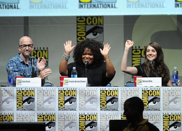 "SAN DIEGO, CA - JULY 21: (L-R) Actors Jim Rash, Yvette Nicole Brown and Alison Brie speak onstage at the ""Community"" celebrating the fans during Comic-Con International 2013 at San Diego Convention Center on July 21, 2013 in San Diego, California. (Photo by Kevin Winter/Getty Images)"