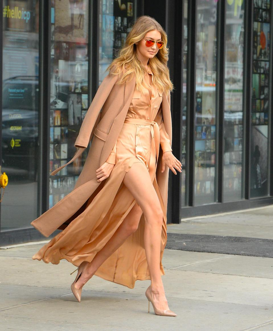 Further proof Hadid can look good in anything: this nearly monochromatic ensemble.