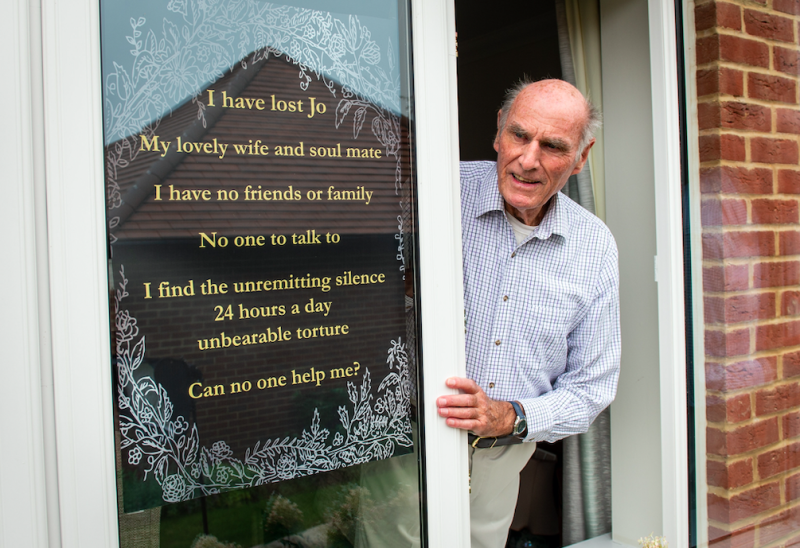 Tony Williams placed a poster in his window to ask for friends. (SWNS)