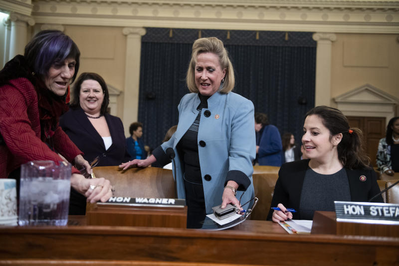 UNITED STATES - JANUARY 28: Reps. Rosa DeLauro, D-Conn., left, Ann Wagner, R-Mo., center, and Elise Stefanik, R-N.Y., prepare to testify during a House Ways and Means Committee hearing on legislative proposals for paid family and medical leave in Longworth Building on Tuesday, January 28, 2020. (Photo By Tom Williams/CQ-Roll Call, Inc via Getty Images)