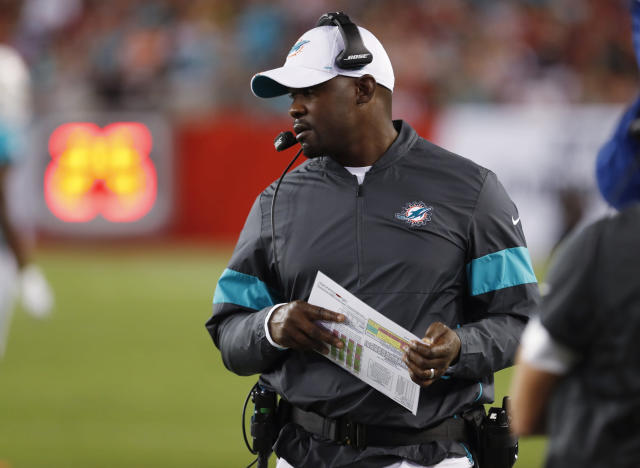 FILE - In this Aug. 16, 2019, file photo, Miami Dolphins coach Brian Flores watches during the first half of the team's NFL preseason football game against the Tampa Bay Buccaneers in Tampa, Fla. First-time head coach Flores faces a tricky task: While he tries to establish a winning culture, the season will be mostly about losing and how the Dolphins position themselves for next years draft, when theyll likely take a quarterback in the opening round for only the second time since Dan Marino in 1983. (AP Photo/Mark LoMoglio, File)