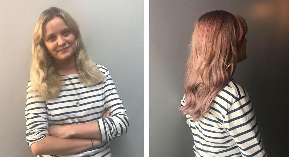 The pastel effect on blonde hair