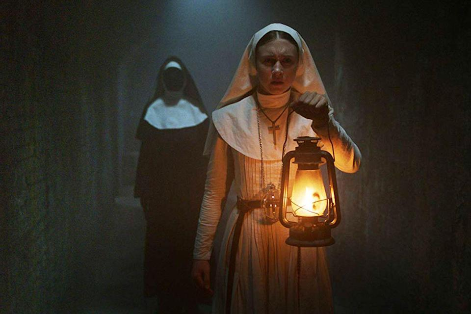 """<p><strong><em>The Nun</em></strong></p><p>The second spin-off of <em>The Conjuring</em> series follows a young nun in training, Sister Irene, who embarks on a mission to uncover the secret behind a mysterious death at the clutches of a demonic nun.<br></p><p><a class=""""link rapid-noclick-resp"""" href=""""https://www.amazon.com/Nun-Demián-Bichir/dp/B07KMJQ3ZH/?tag=syn-yahoo-20&ascsubtag=%5Bartid%7C10055.g.29120903%5Bsrc%7Cyahoo-us"""" rel=""""nofollow noopener"""" target=""""_blank"""" data-ylk=""""slk:WATCH NOW"""">WATCH NOW</a></p>"""