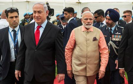 FILE PHOTO - Indian PM Modi and Israeli PM Netanyahu visit the Indian Army Cemetery of World War I to honour fallen Indian soldiers, in the Israeli coastal city of Haifa