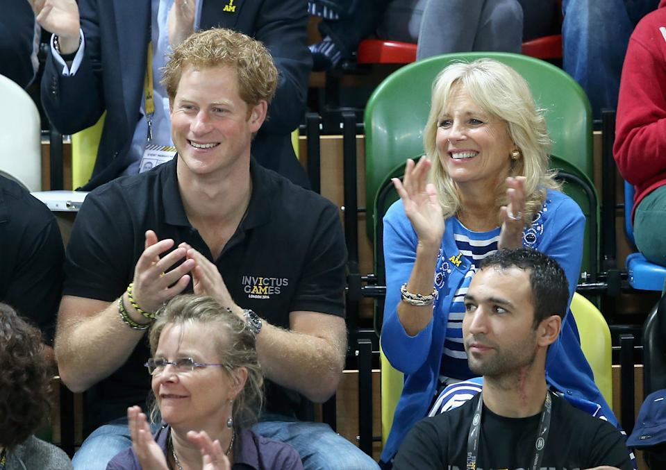 LONDON, ENGLAND - SEPTEMBER 13:  Prince Harry and Jill Biden watch the wheelchair basketball at the Copper Box at Queen Elizabeth park on September 13, 2014 in London, England. The International sports event for 'wounded warriors', presented by Jaguar Land Rover, is just days away with limited last-minute tickets available at www.invictusgames.org  (Photo by Chris Jackson/Getty Images)