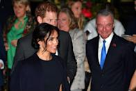 <p>For the opening of the Invictus Games in Sydney in 2018, Meghan Markle wore a navy Stella McCartney cape dress, which she accessorized with a pair of delicate diamond and sapphire drop earrings. </p>