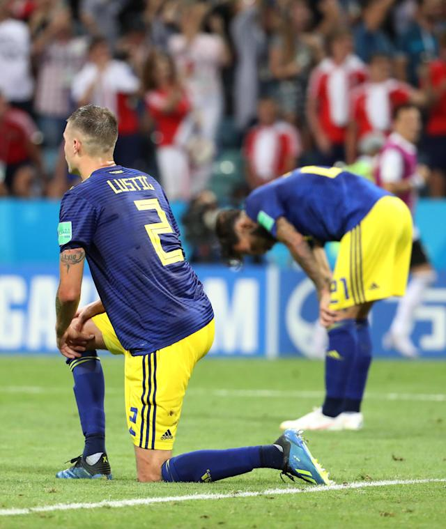 Soccer Football - World Cup - Group F - Germany vs Sweden - Fisht Stadium, Sochi, Russia - June 23, 2018 Sweden's Mikael Lustig and Jimmy Durmaz look dejected after conceding their second goal REUTERS/Francois Lenoir