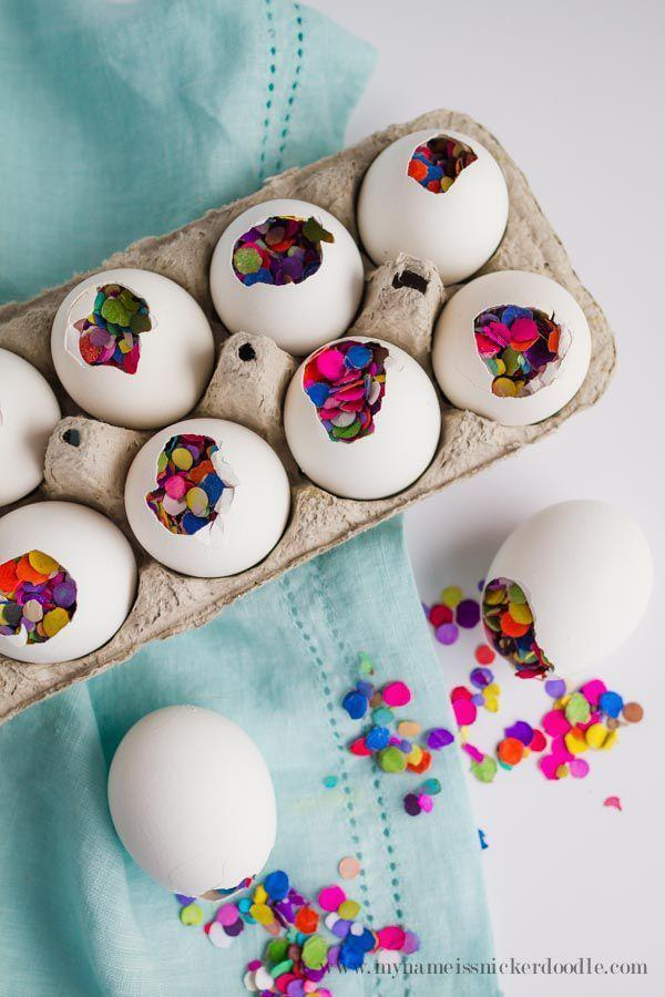 "<p>Think of these confetti-filled eggs as mini piñatas that kids can easily crack open before the party begins. They'll love seeing all the color confetti!</p><p><em><a href=""https://www.mynameissnickerdoodle.com/how-to-make-fun-confetti-eggs-for-easter/#more"" rel=""nofollow noopener"" target=""_blank"" data-ylk=""slk:Get the tutorial at My Name Is Snickerdoodle »"" class=""link rapid-noclick-resp"">Get the tutorial at My Name Is Snickerdoodle »</a></em></p>"