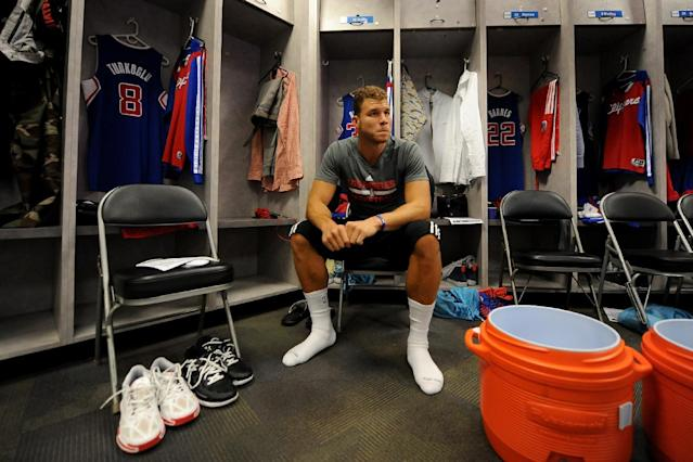 OAKLAND, CA - APRIL 27: Blake Griffin #32 of the Los Angeles Clippers sits in the locker room prior to the game against the Golden State Warriors in Game Four of the Western Conference Quarterfinals at Oracle Arena on April 27, 2014 in Oakland, California. (Photo by Noah Graham/NBAE via Getty Images)