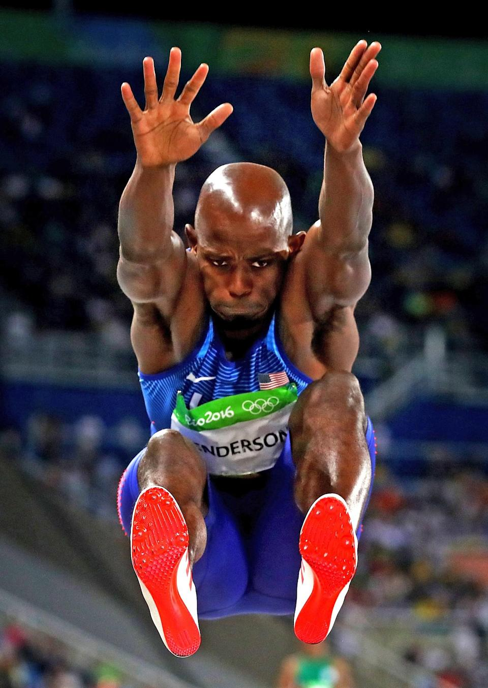 <p>Jeff Henderson of the United States competes during the Men's Long Jump Final on Day 8 of the Rio 2016 Olympic Games at the Olympic Stadium on August 13, 2016 in Rio de Janeiro, Brazil. (Photo by Alexander Hassenstein/Getty Images) </p>