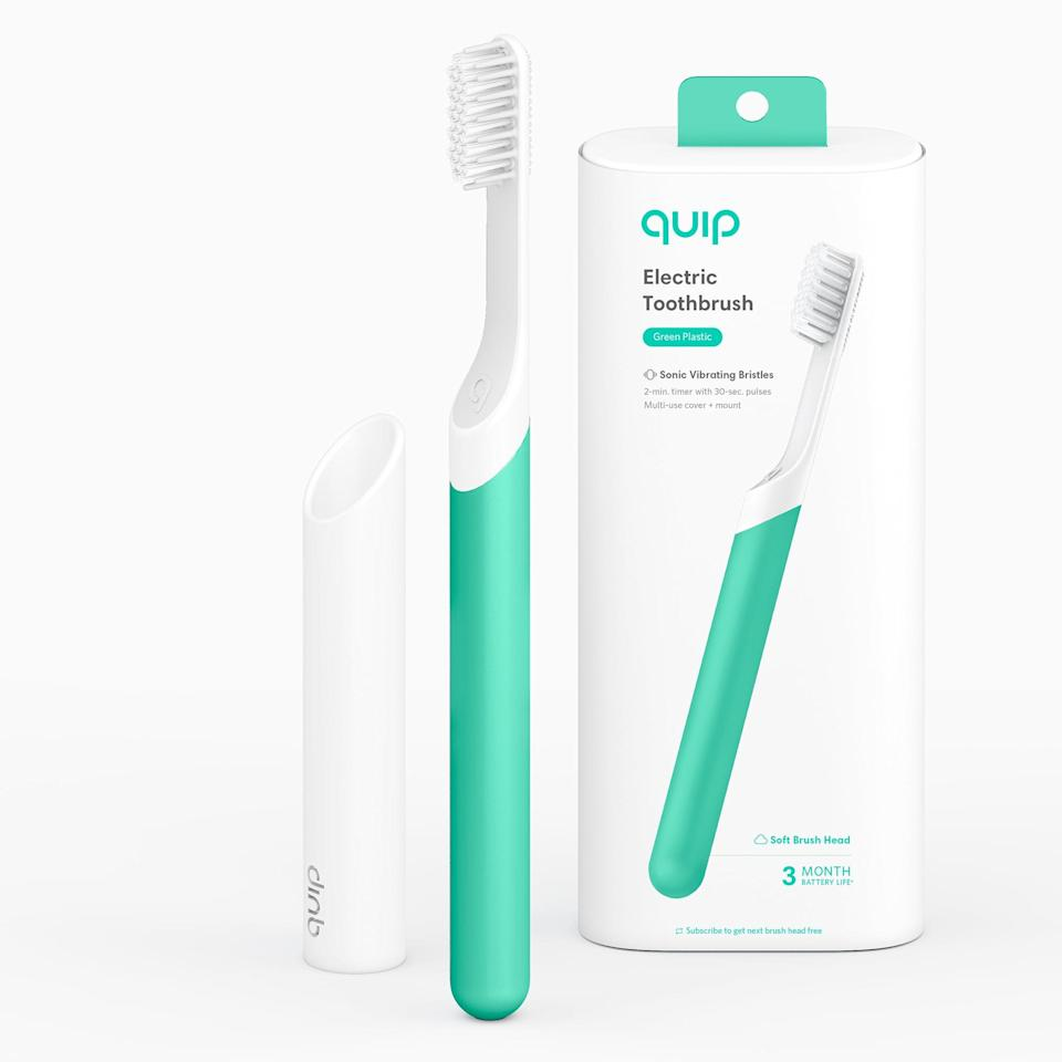 <p>You can't go wrong with gifting the <span>Quip Electric Toothbrush, Built-In Timer + Travel Case, Green Plastic</span> ($25) which is as practical as it is chic.</p>