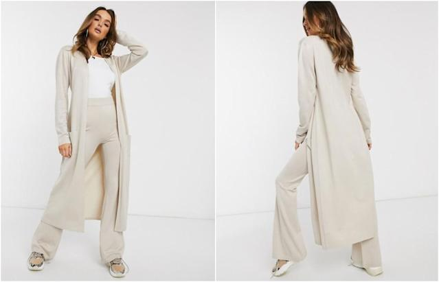Missguided co-ord longline cardigan in cream