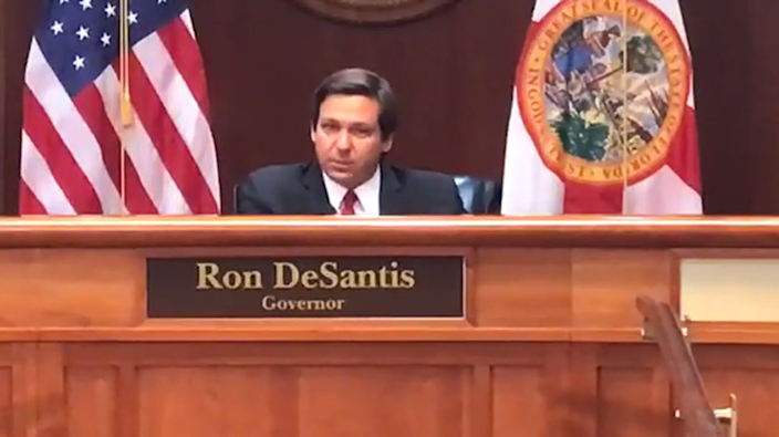 Gov. Ron DeSantis discusses professional sports returning to Florida during a May 13 press conference.