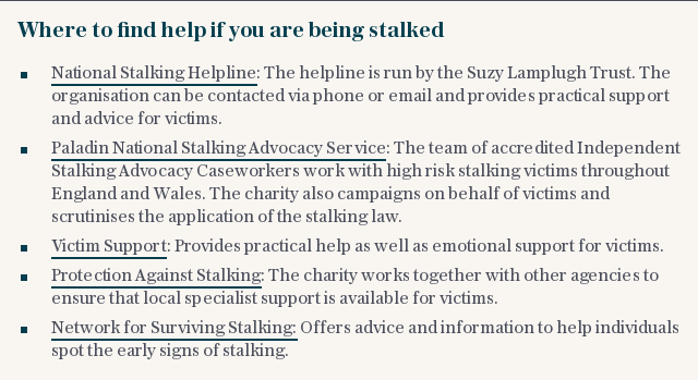 Where to find help if you are being stalked