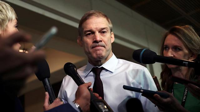 Rep. Jim Jordan speaks to reporters during a break in a closed-door deposition as part of the impeachment inquiry into President Trump. (Photo: Siphiwe Sibeko/Reuters)
