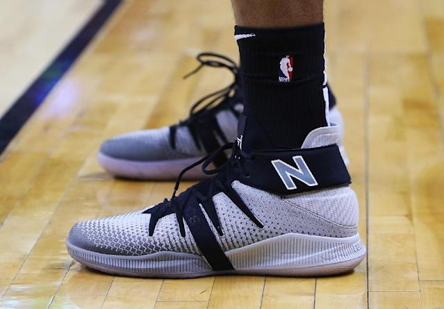 The shoes worn by Kawhi Leonard of the Toronto Raptors during Game Five of the first round of the 2019 NBA Playoffs against the Orlando Magic at Scotiabank Arena on April 23, 2019 (AFP Photo/Vaughn Ridley)