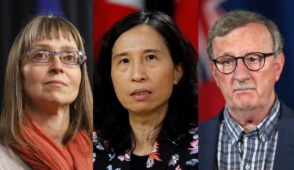 Alberta's Deena Hinshaw, Canada's Dr. Theresa Tam and Ontario's Dr. David Williams. Chief medical officers of health have been tasked with creating trust from the public, but Their political environment has posed significant challenges amid COVID-19.