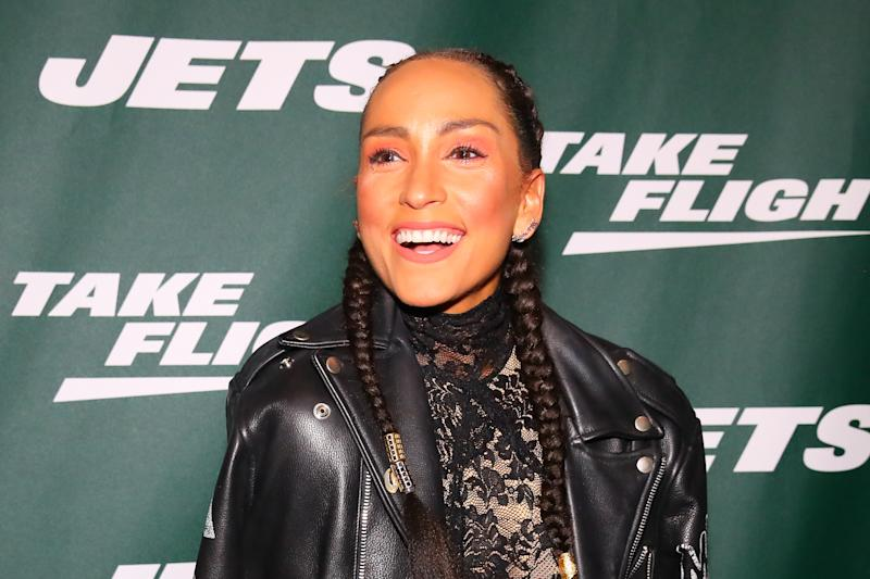 NEW YORK, NY - APRIL 4: American ultra marathon runner and author Robin Arzon poses for photos on the green carpet at the unveiling of the New York Jets new uniform on April 4, 2019 at Gotham Hall in New York, NY.  (Photo by Rich Graessle / Icon Sportswire via Getty Images)