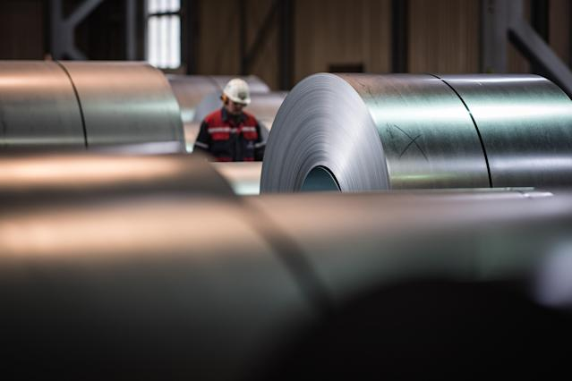 Galvanized coiled steel at ThyssenKrupp steelworks in Duisburg, Germany. (Photo: Lukas Schulze/Getty Images)