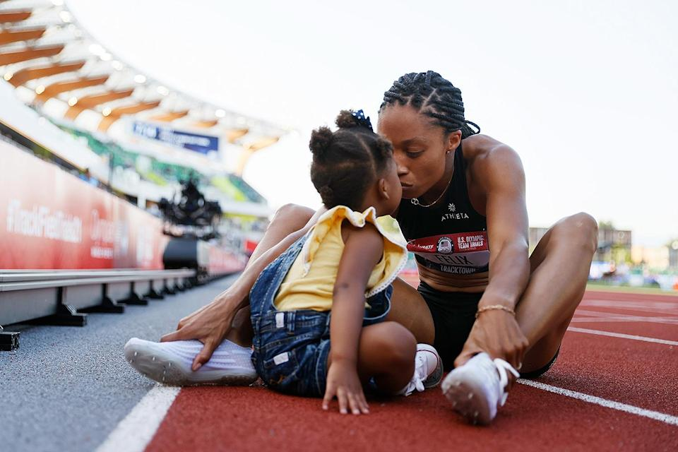 """<p>The nine-time Olympic medalist is set to appear in her fifth Olympic Games this summer, after coming in second place during the 400m trial finals on June 20. She is also in the running to participate on Team USA's 4x400 relay team for a fourth time. </p> <p>Felix holds the most medals of any American woman in Olympic track & field history; this summer, she could break or tie Carl Lewis' record of 10 medals to become the most decorated American track & field athlete in history. </p> <p>""""My legacy is not only on the track,"""" she <a href=""""https://people.com/sports/tokyo-olympics-allyson-felix-secures-spot-team-usa-track-and-field-trials/"""" rel=""""nofollow noopener"""" target=""""_blank"""" data-ylk=""""slk:told PEOPLE"""" class=""""link rapid-noclick-resp"""">told PEOPLE</a>. Felix, who welcomed her daughter Camryn in November 2018, hopes that returning to the Olympics as a mom will prove that women can continue to break records in sports after having children. </p> <p>""""I want things to look different for those coming after me and so that means really pushing on certain issues and really standing up for ourselves,"""" she said. </p>"""