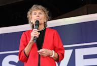 Kate Hoey MP speaking on stage at the March to Leave protest in Parliament Square, Westminster, London