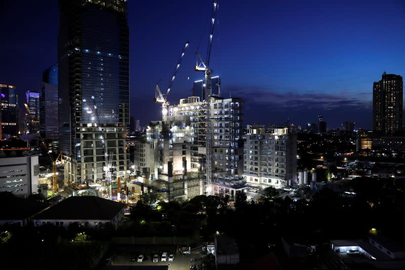 General view of a construction site during the dusk in Jakarta