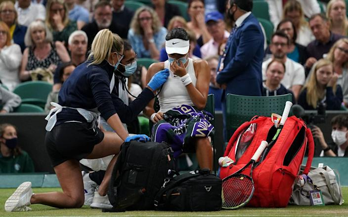 Emma Raducanu needed a medical timeout during the second set which forced her retirement - PA