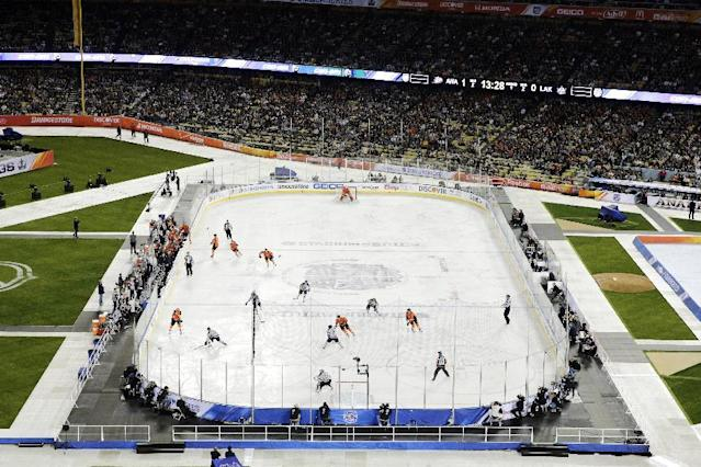 The Anaheim Ducks and the Los Angeles Kings skate during the first period of an NHL outdoor hockey game at Dodger Stadium on Saturday, Jan. 25, 2014, in Los Angeles. (AP Photo/Jae C. Hong)